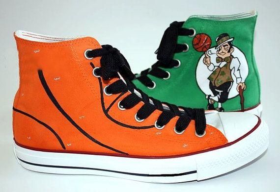 Boston Celtics Hand Painted Shoes Custom от catinthehatetsy