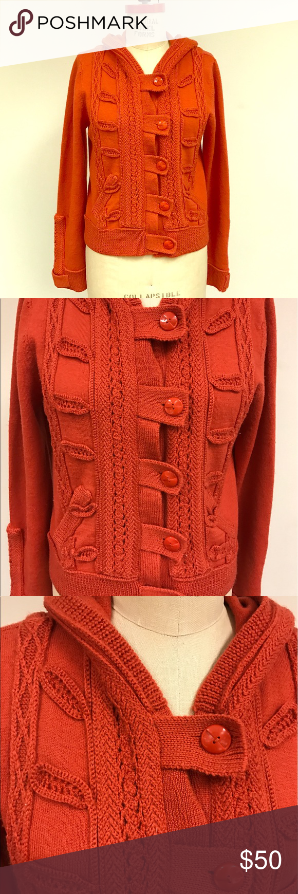 Lia Molly anthropologie orange knit hood sweater | Anthropologie ...