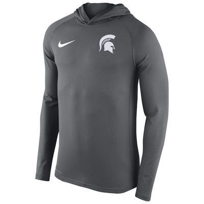 Men S Nike Gray Michigan State Spartans Stadium Dri Fit Touch Lightweight Hooded Top Tops Nike Men Hoodies