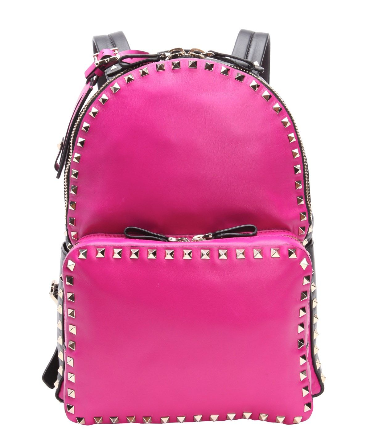 VALENTINO Fuchsia And Black Leather 'Rockstud' Backpack'. #valentino #bags #leather #lining #canvas #backpacks #