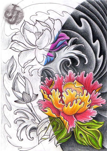 Lotus Peony Rose Half Half Tattoo Design Hawaiian Tattoo Peony Rose Peonies Tattoo