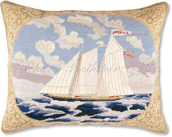 Americas Cup Mixed Stitch Needlepoint Pillow - Nautical Pillows at NeedlepointPillows.com