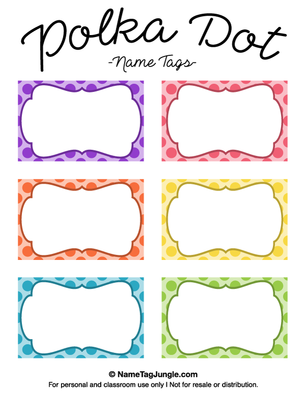 Free printable polka dot name tags the template can also for Locker tag templates