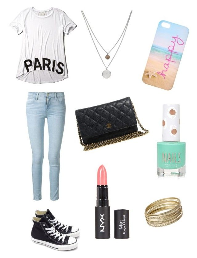 """""""My ootod"""" by gabithomas529 ❤ liked on Polyvore featuring Abercrombie & Fitch, Frame Denim, Converse, Chanel, Kenneth Cole, Topshop and Steve Madden"""
