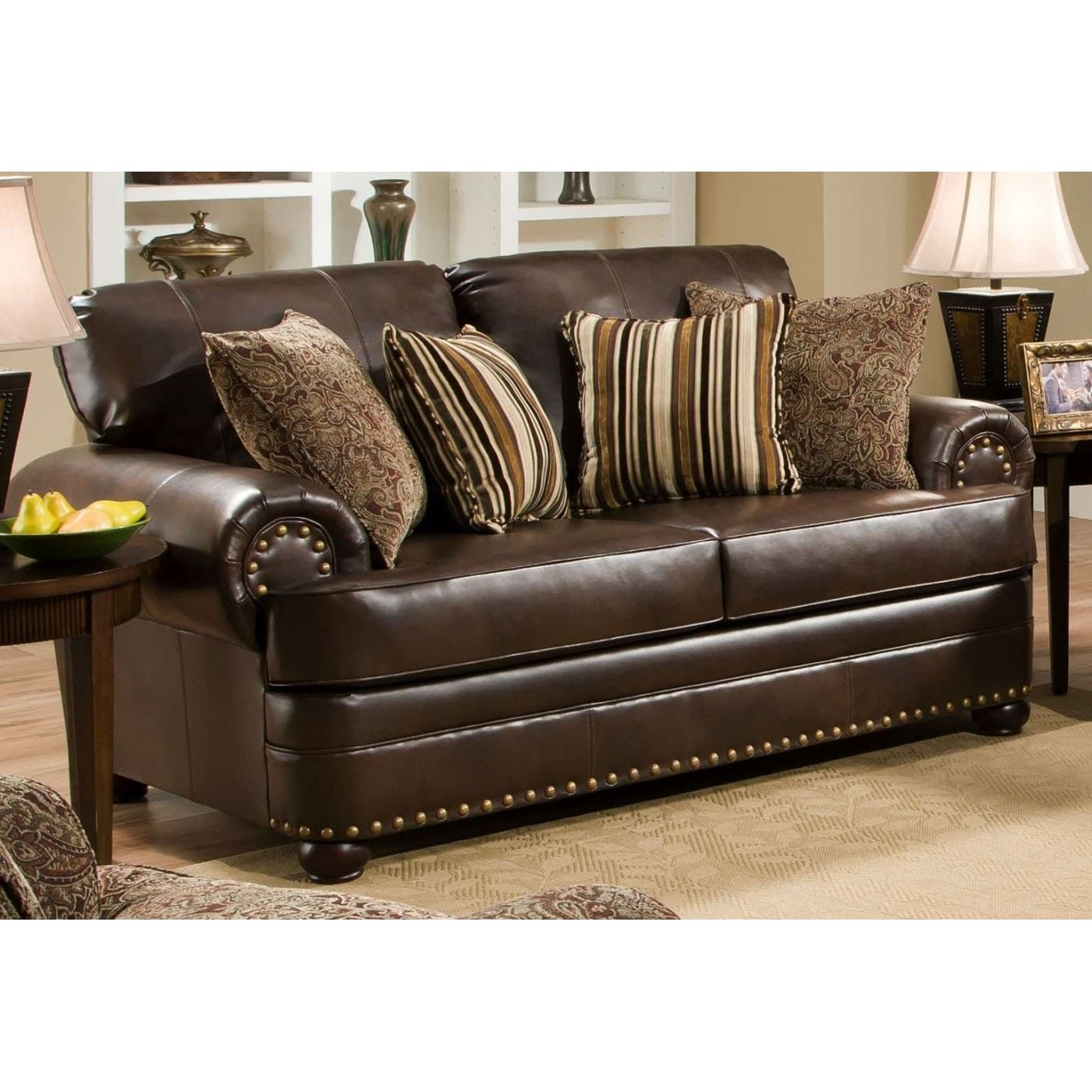 Simmons 7531 02 Saddle Leather Sofa