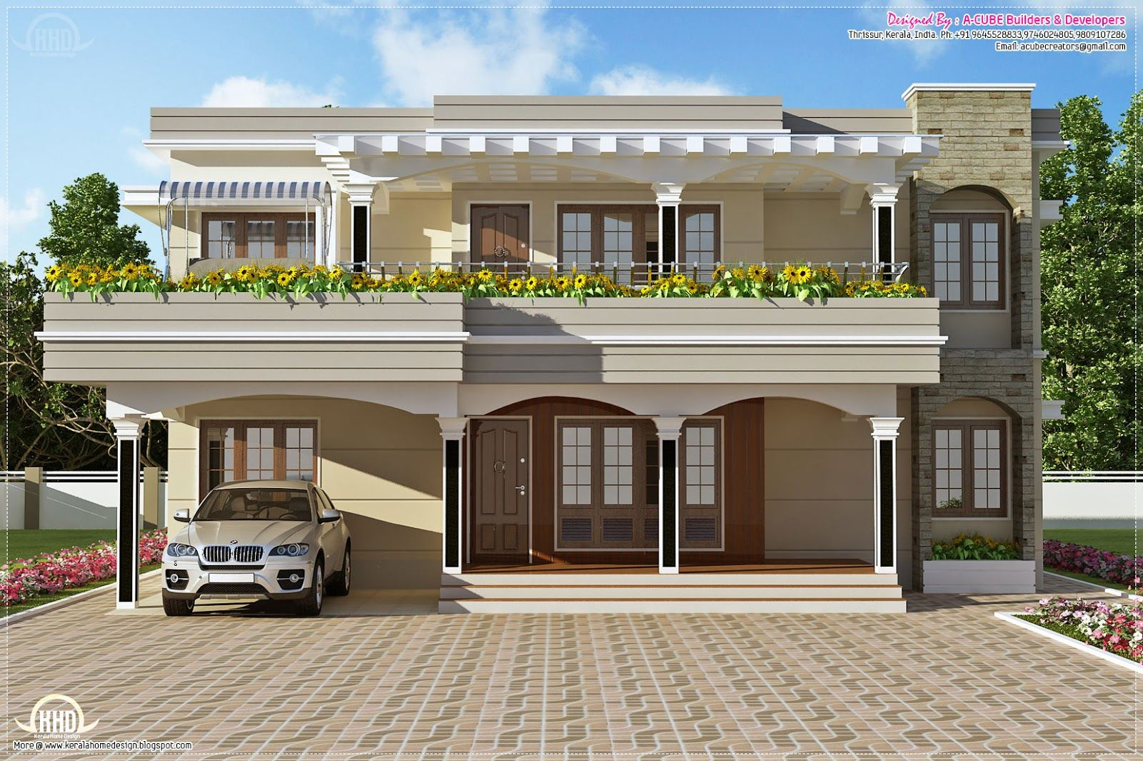 Flat roof homes modern villa in sq feet kerala home design and floor also house  ehome rh pinterest