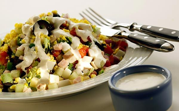 Milton's special house chopped salad with creamy garlic dressing