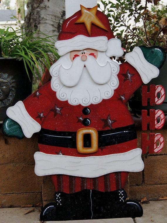 Ho-Ho-Ho Santa Christmas Yard Decoration - Wood Christmas Sign Yard Art - Ho-Ho-Ho Santa Christmas Yard Decoration - Wood Christmas Sign Yard