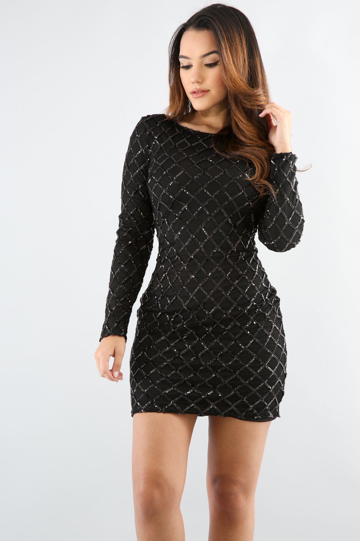 c85dd29cf3a SEXY DIAMOND SEQUIN BODYCON MINI JUNIOR DRESS - BLACK