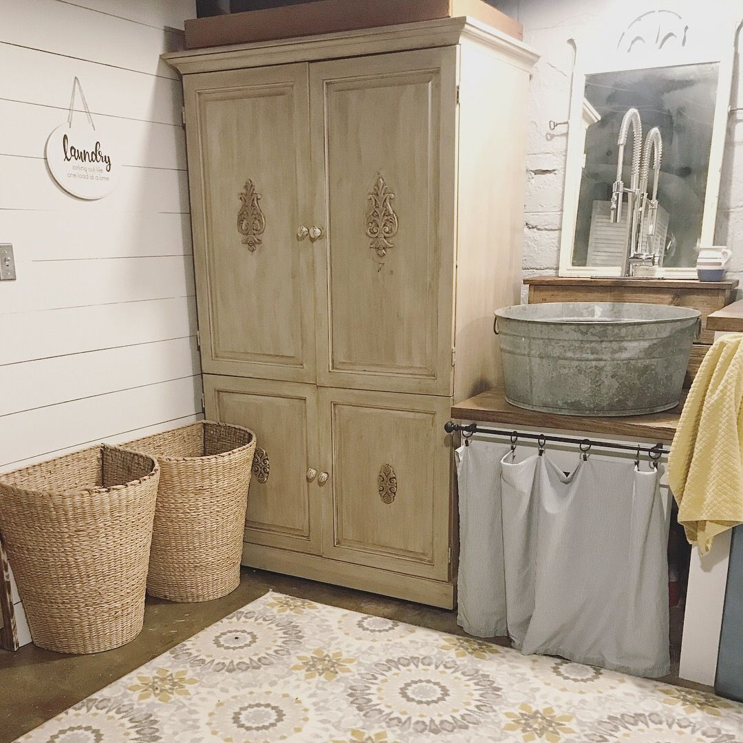 Farmhouse Laundry Room Diy Galvanized Wash Tub Sink Pink