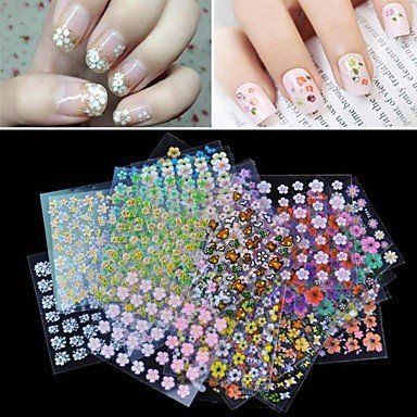 QINF 50PCS Mixs Style Conventional 3D Flower Design Nail Art Stickers ** Click image to review more details.