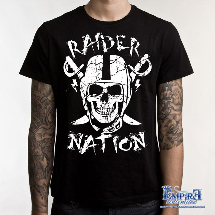 e062719a9 Straight Raider Nation T-Shirt (New) Oakland Raiders Silver   Black  football in Clothing