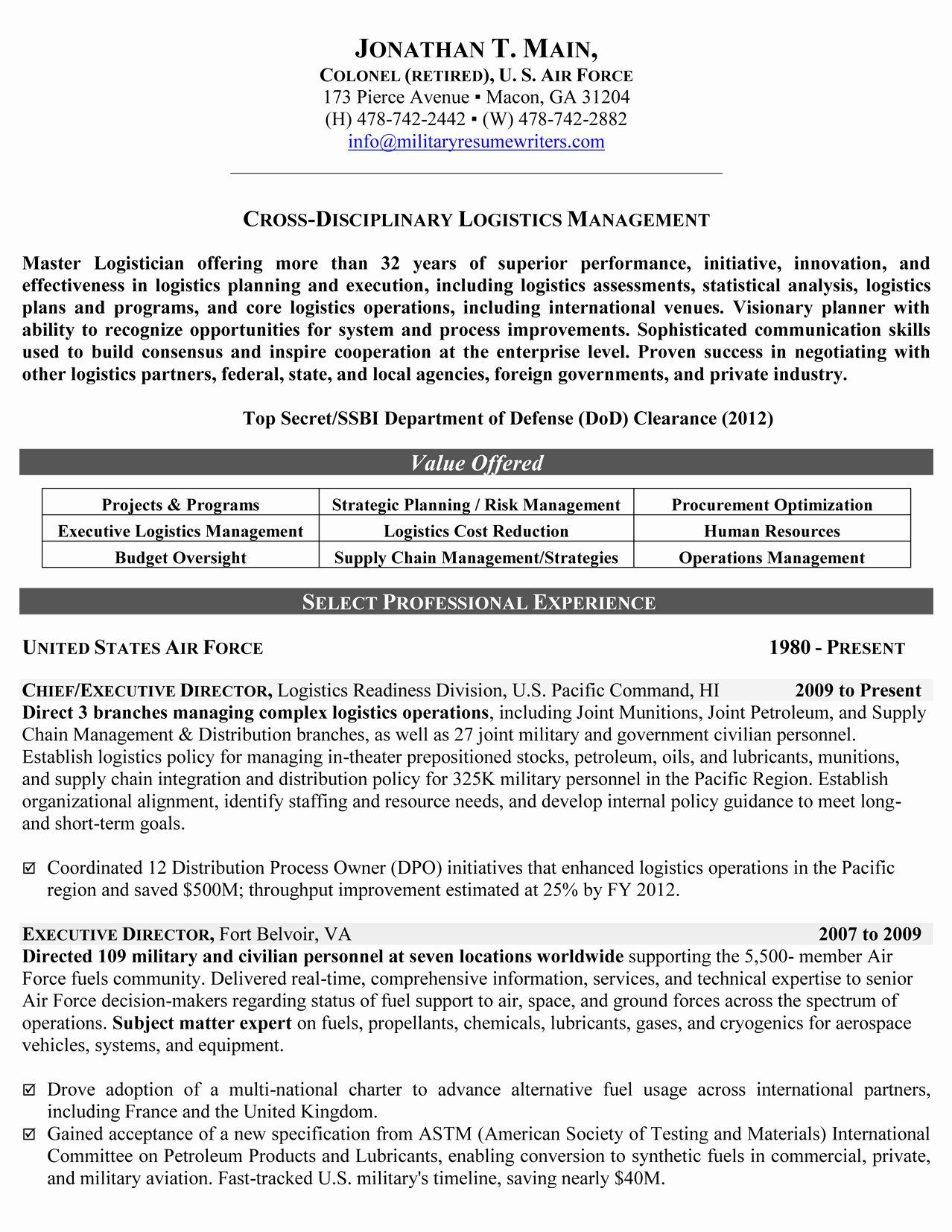 Reentering the workforce resume examples lovely military