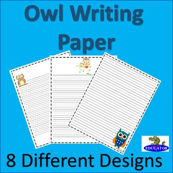 OWL Writing Paper - Lined Paper - Owl Theme Paper owls, Writing - paper lined
