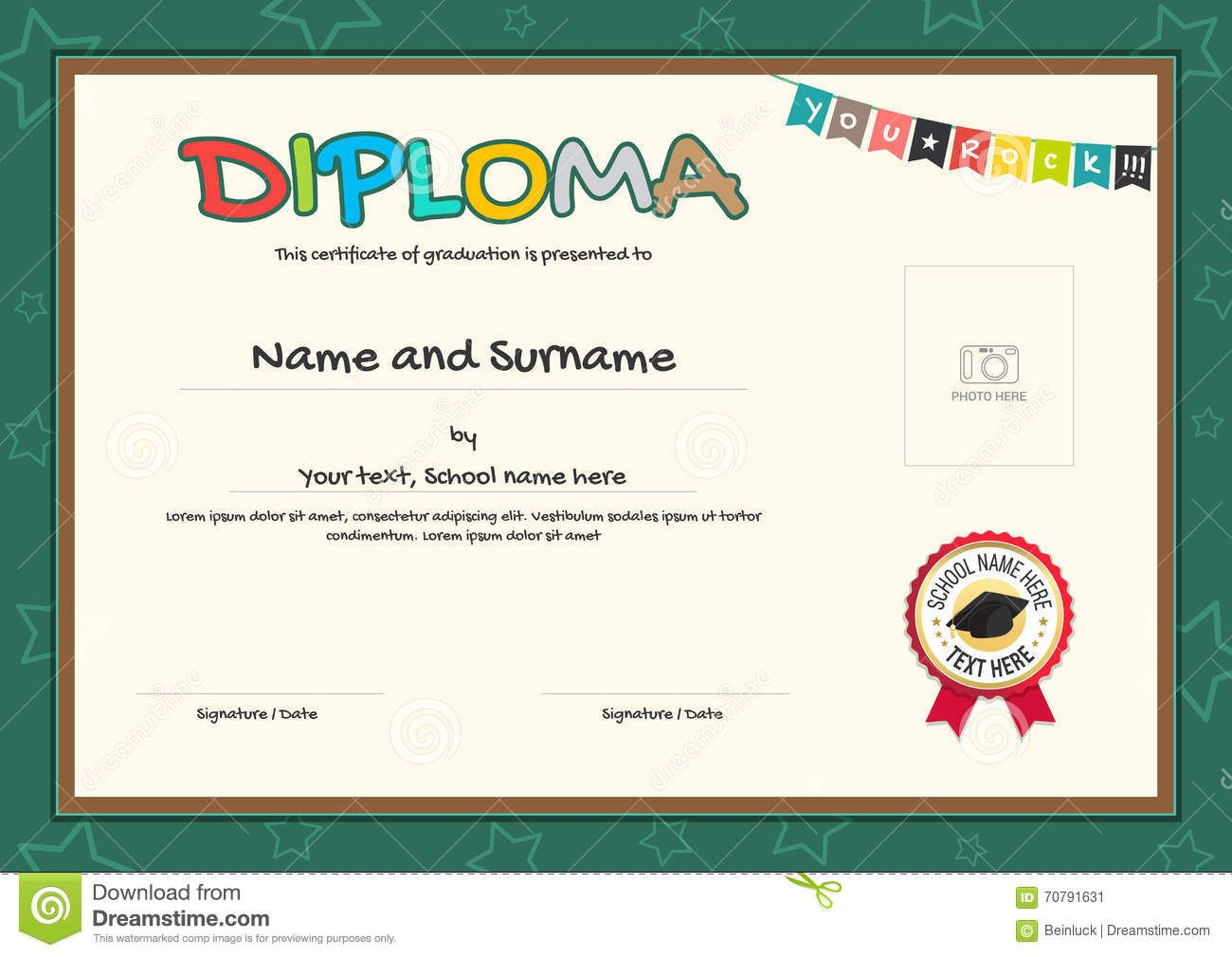 Colorful Diploma Certificate Template For Kids Stock Vector  Kids