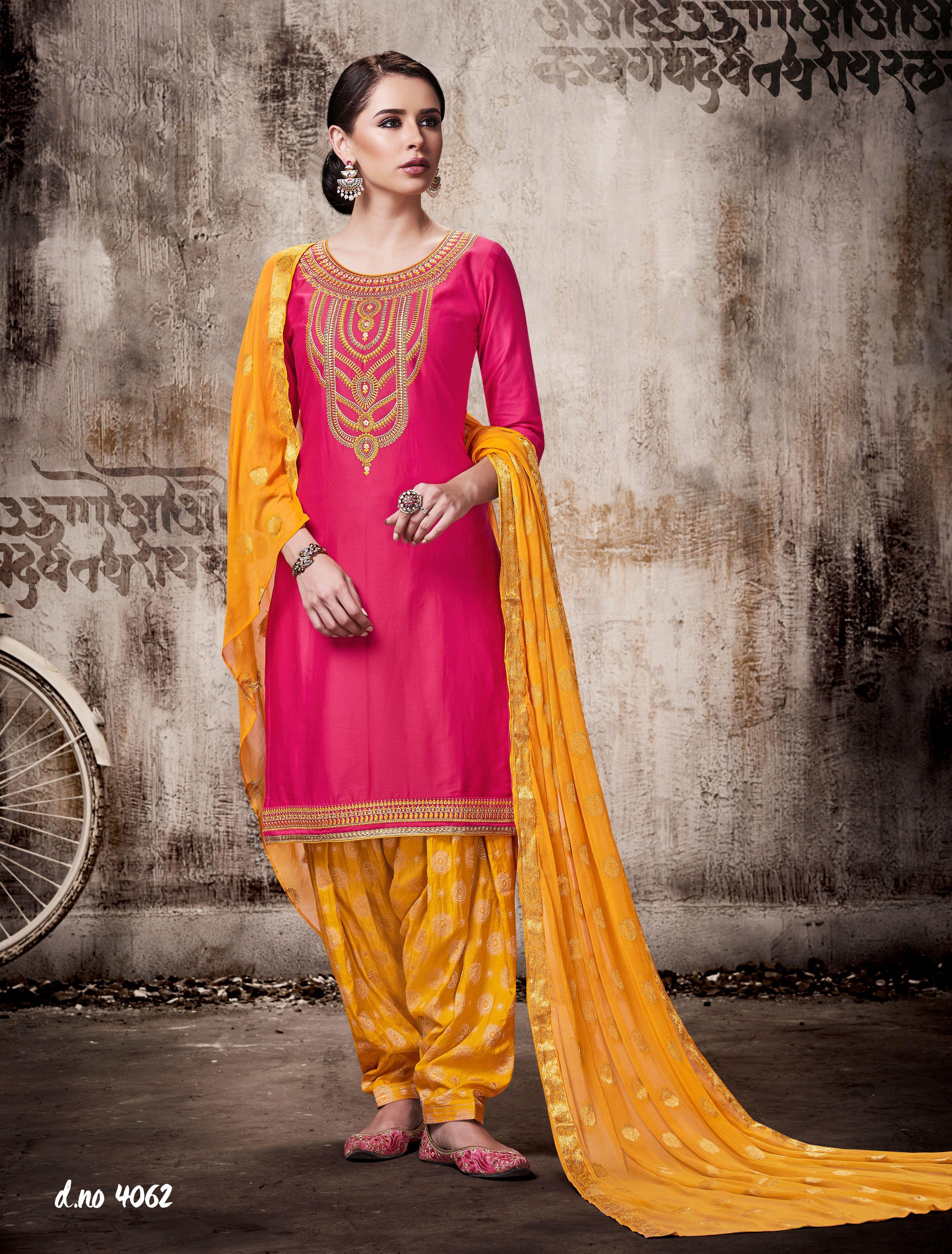 Peach yellow kessi jamsilk banarasi cotton patiyala dress