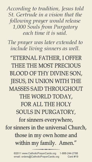 Prayer Of St. Gertrude For The Holy Souls Of Purgatory