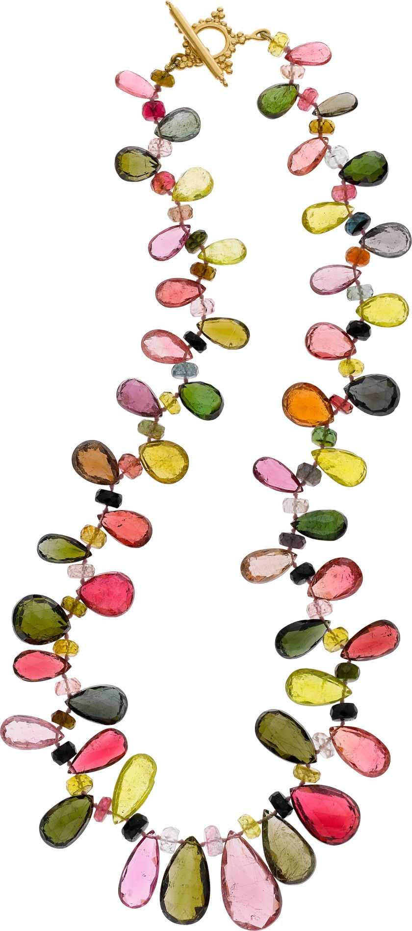 Estate Jewelry:Necklaces, Paula Crevoshay Tourmaline, Gold Necklace. ht