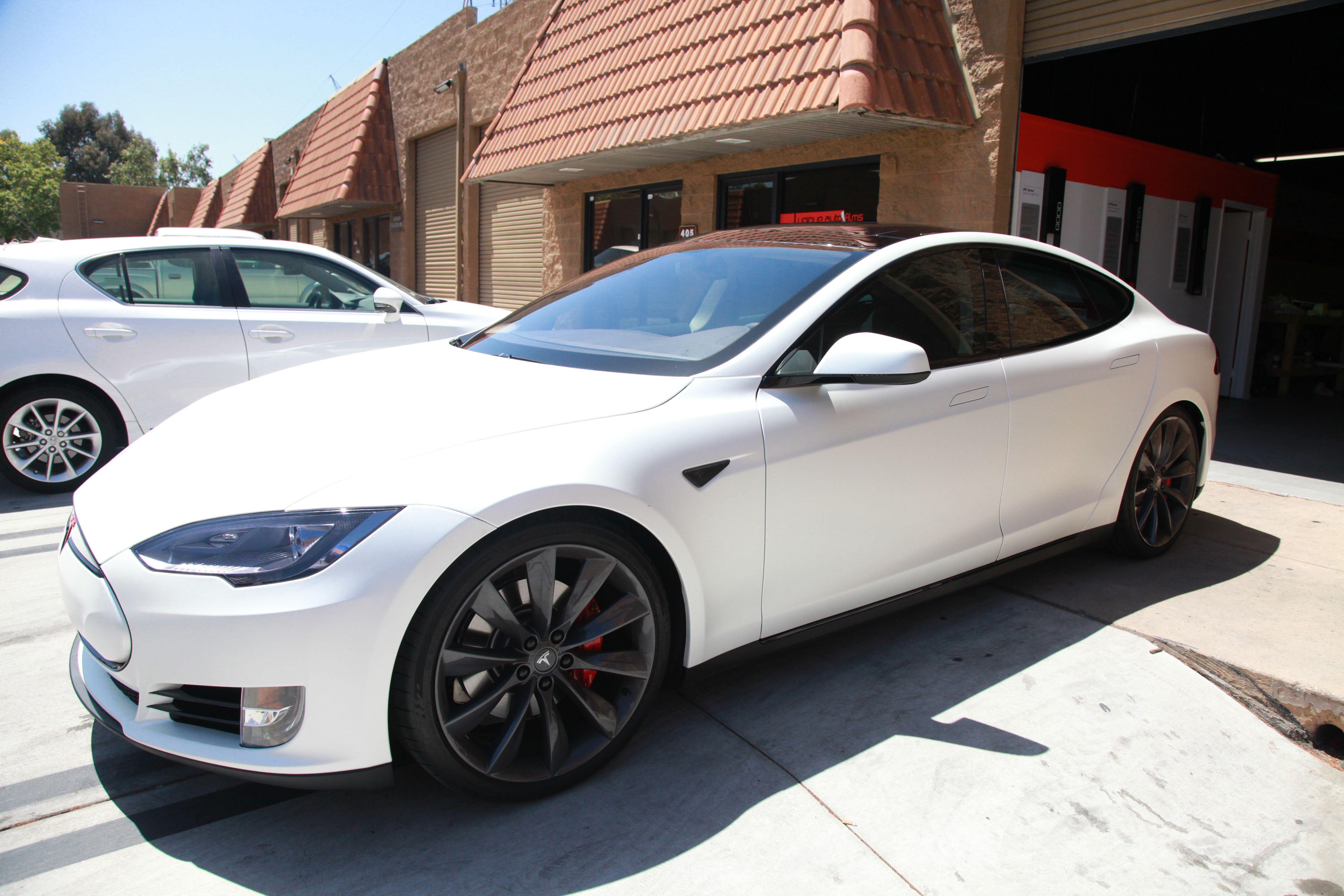 Project Tux Satin Pearl White Tesla Model S P85 Unique Auto Films Tesla Model S P85 Tesla Model S Tesla Car