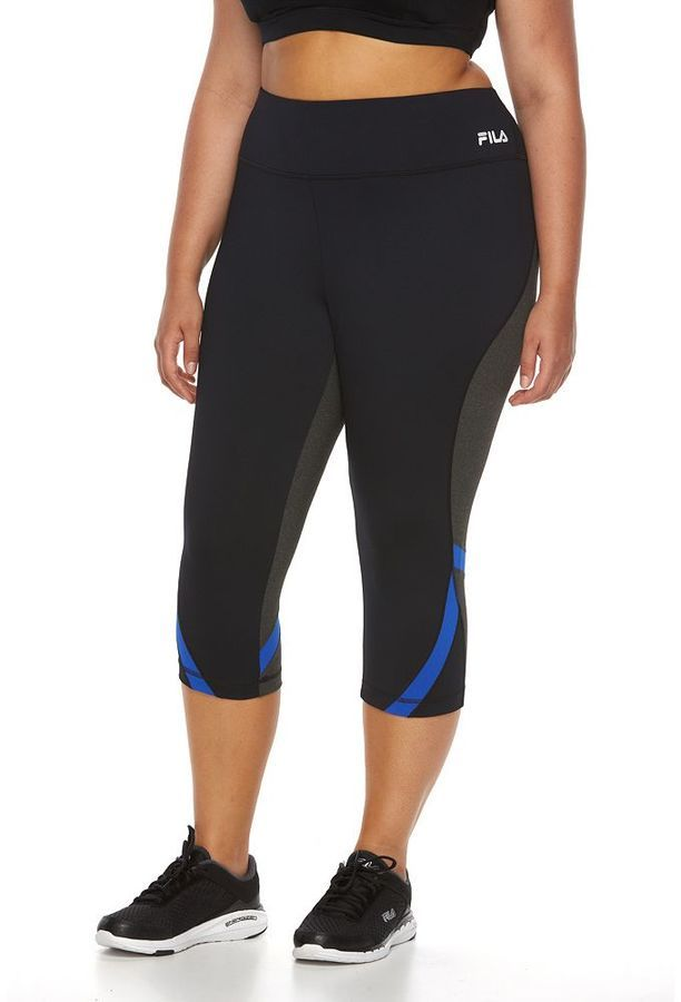 Plus Size FILA SPORT® Two-Tone Reflective Crop Capri Workout Leggings *  Check out