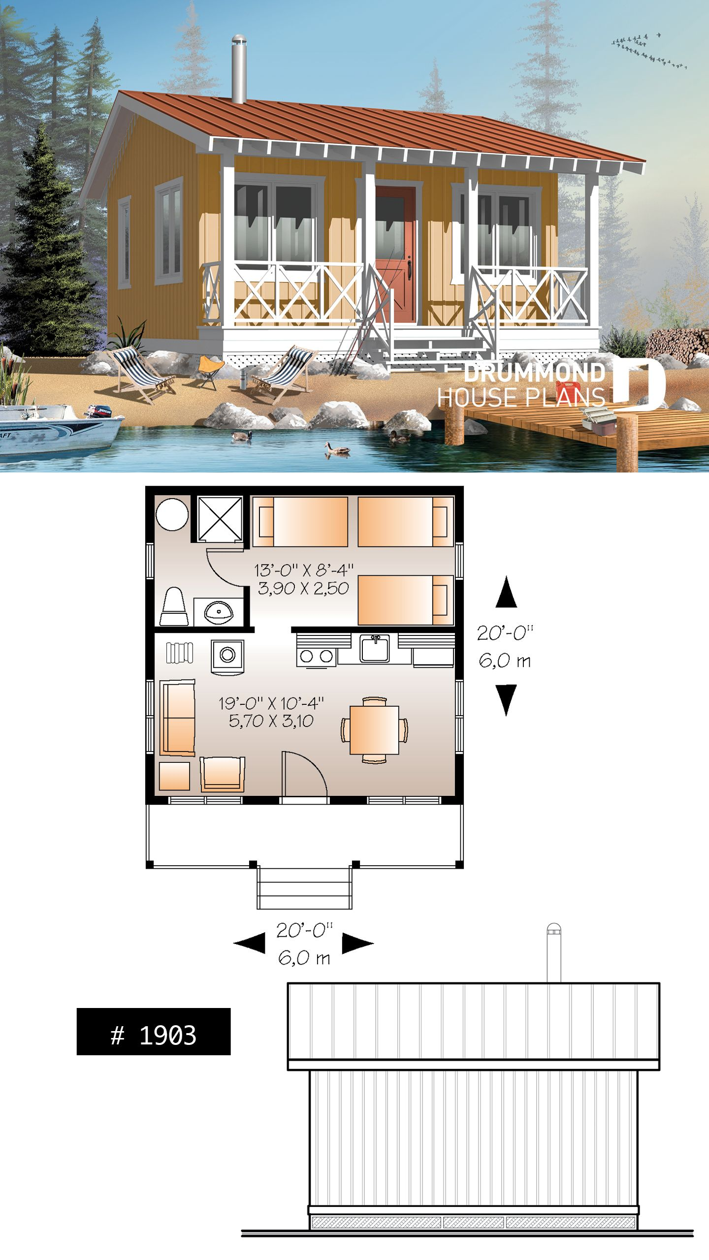 Discover The Plan 1903 Gone Fishin Which Will Please You For Its 1 Bedrooms And For Its Cottage Chalet Cabin Styles Micro House Plans House Blueprints Sims House