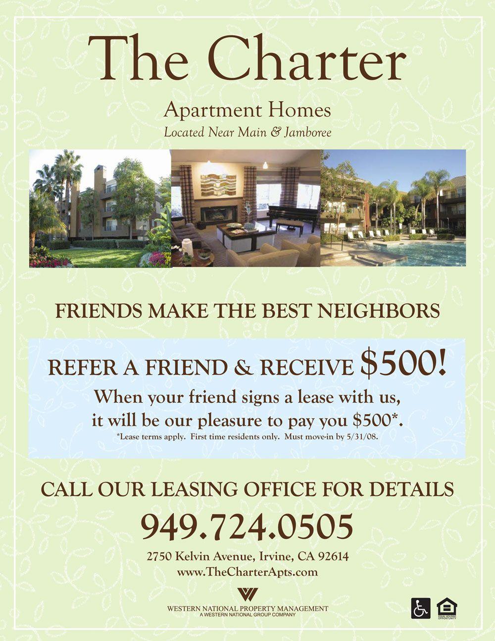 Refer A Friend Apartment Flyer Apartment Marketing Marketing