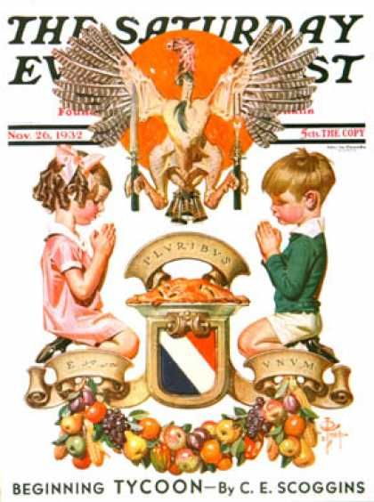1932-11-26: Thanksgiving Crest (J.C. Leyendecker) Saturday Evening Post