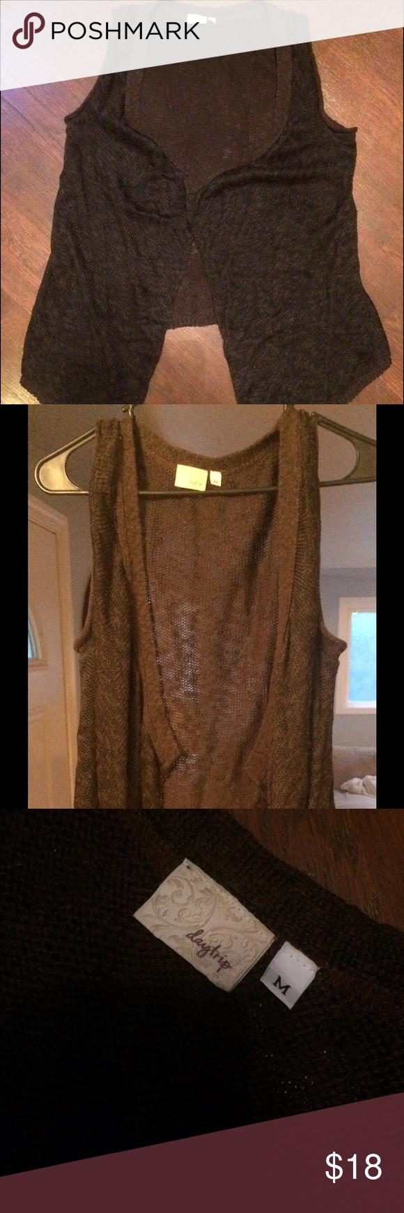 Sleeveless Cardigan two toned sleeveless brown cardigan. Rarely worn. Daytrip Sweaters Cardigans