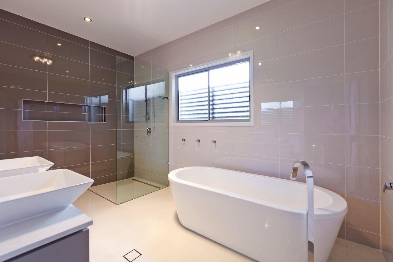Modern bathroom. Our client asked for a large main ... on Main Bathroom Ideas  id=78468