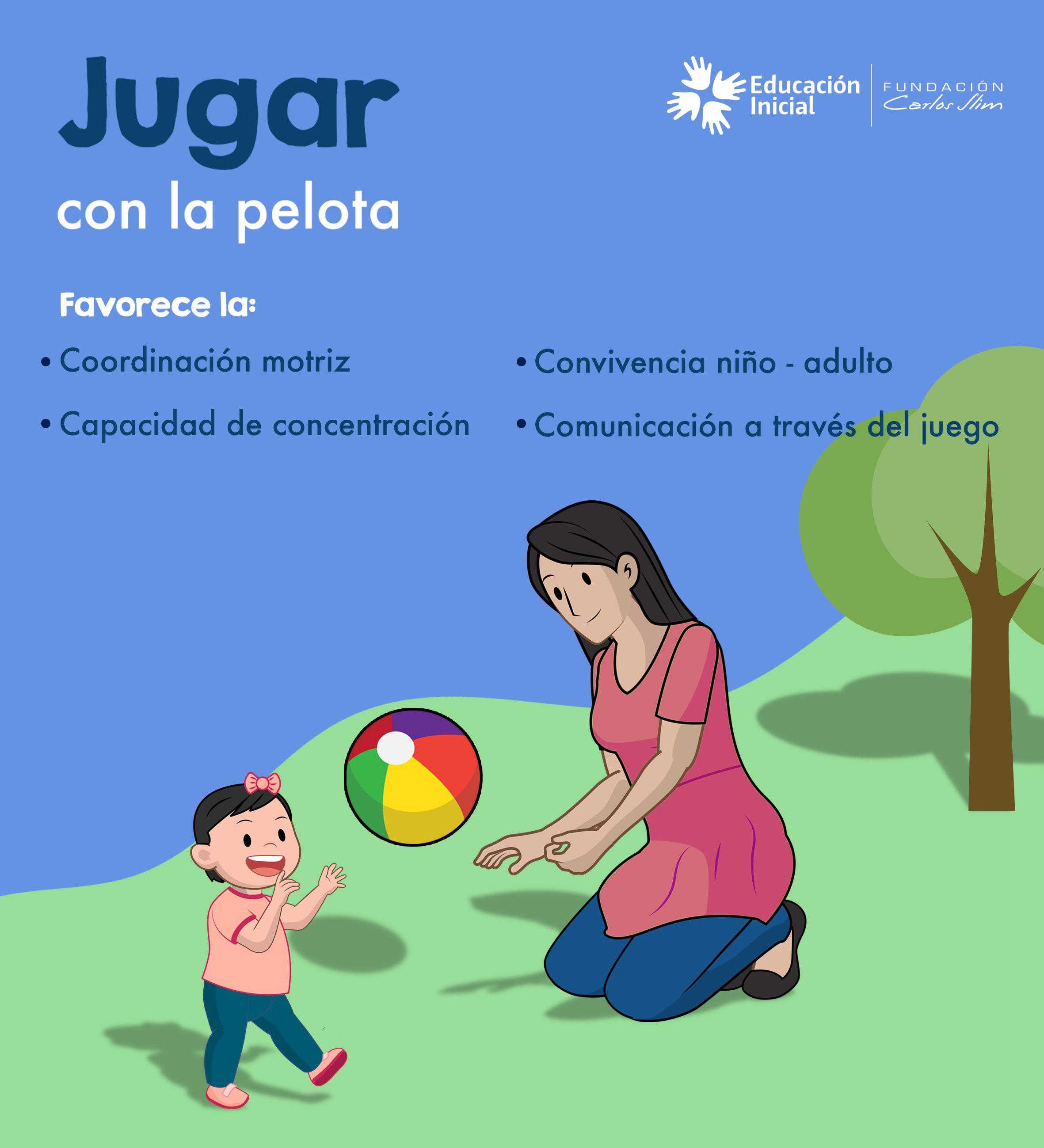 Jugar con la pelota. Conoce algunos de sus beneficios.  Juego  Pelota   Convivencia  Estimulación  Tip  bebés  Juegos be3b686707d3
