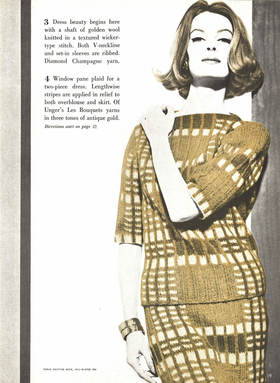 Check Check Dress • 1960s Knitting Knit Sweater Pattern • Vintage ...