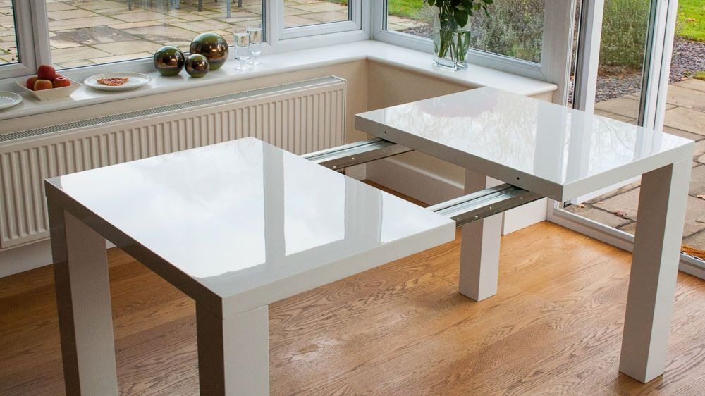 Fern White Gloss Extending Dining Table Expandable Dining Table