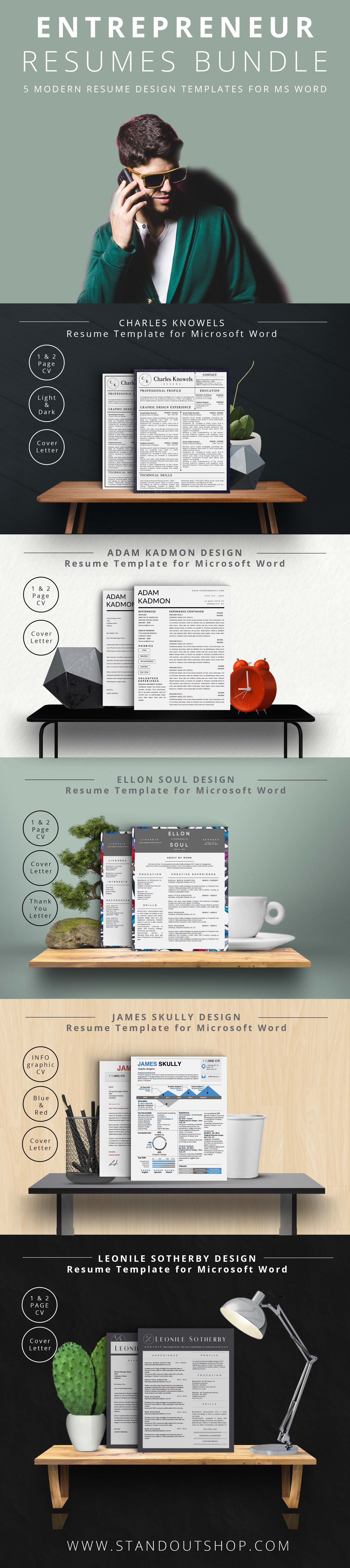 Entrepreneur Resume Collection For Microsoft Word Download  Modern