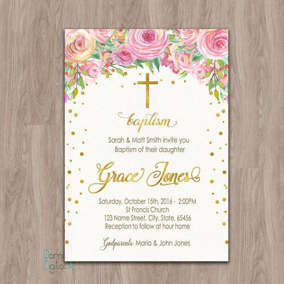Baptism Invitation Girl Baptism Invitation Printable baptism