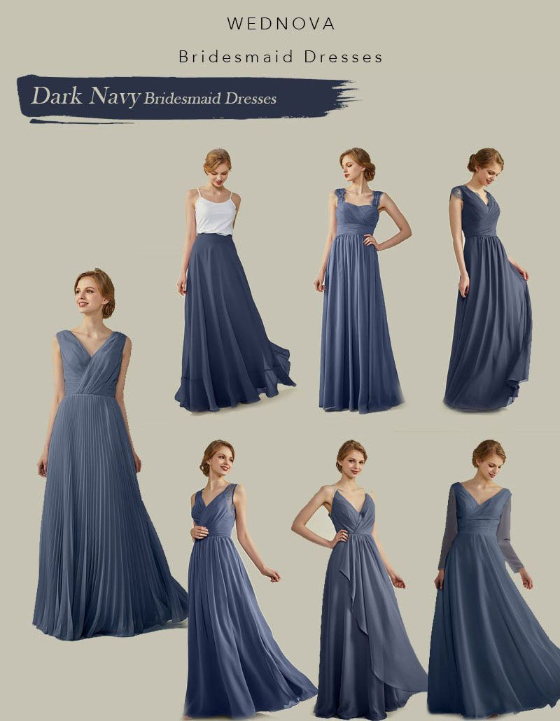 2018 Elegant Different Style Bridesmaid Dark Navy On A Budget V Neck Dresses For Wedding Fall Bridesmaids Dark Navy Bridesmaid Dress Dark Navy Bridesmaid Dr