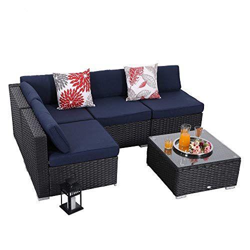 Surprising Phi Villa 5 Piece Outdoor Furniture Set Rattan Wicker Patio Creativecarmelina Interior Chair Design Creativecarmelinacom