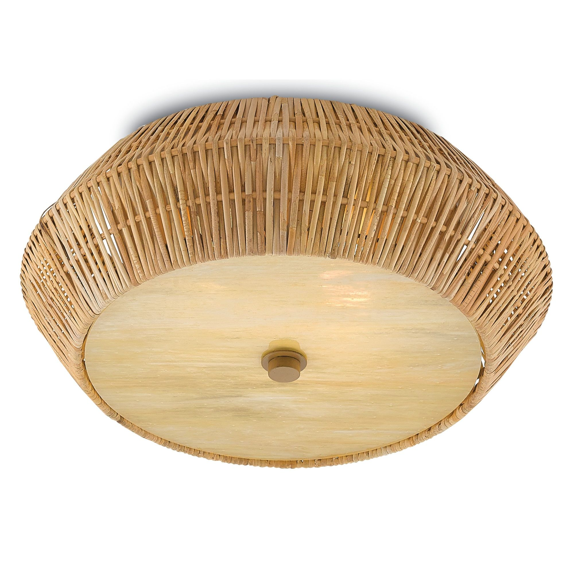 Rattan And Glass Flush Mount Two Lights With GU24 Bulb Type Maximum Wattage 26 Rec RoomsDining RoomsHallway LightingCeiling