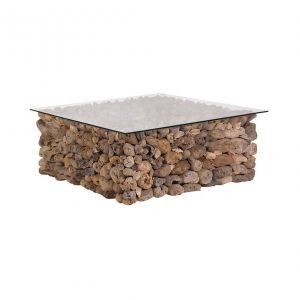 Square Driftwood Coffee Table with Glass Top - Casafina