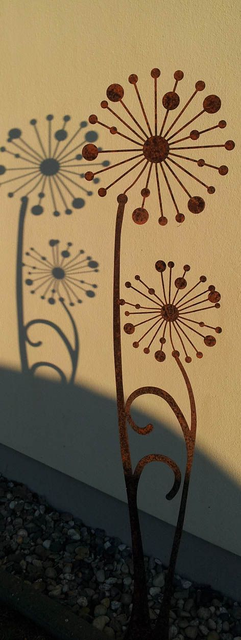 Gartenskulptur Pusteblume Edelrost | Zierelemente ...