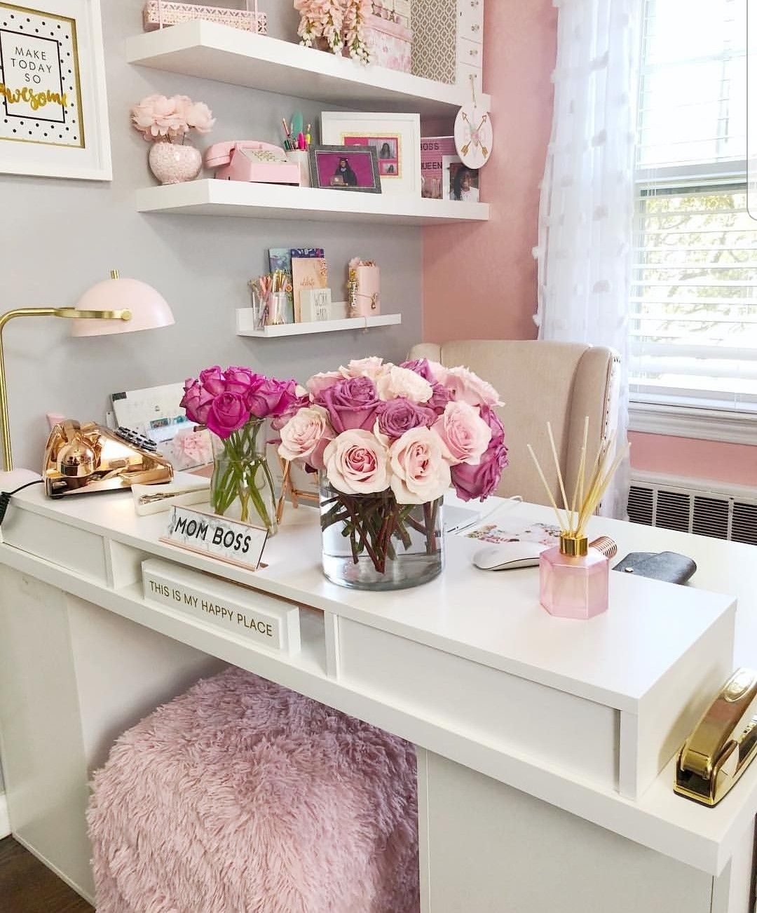 Pretty Pink Gold And White Inspired Decor Home Office Decor