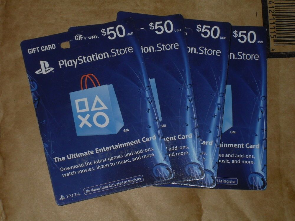 Lot Of 4 50 Us Playstation Network Store Psn Gift Card Ps3 Ps4 Ps