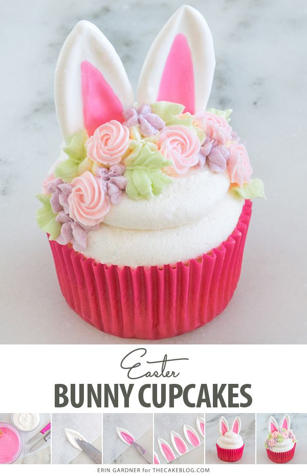 Easter Bunny Cupcakes - Easter bunny cupcakes, Bunny cupcakes, Easter cupcakes, Easter dessert, Easter baking, Easter cakes - Easter Bunny Cupcakes  how to make adorable bunny cupcakes with easy chocolate ears and a buttercream flower crown