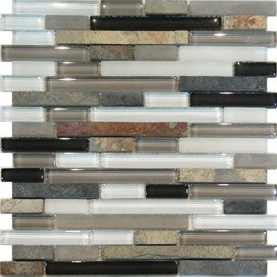 Slate Stone Gray Brown Glass Blends Mosaic Tile