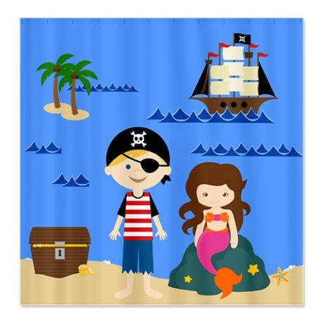 pirate and mermaid shower curtain Boy Girl Bathroom
