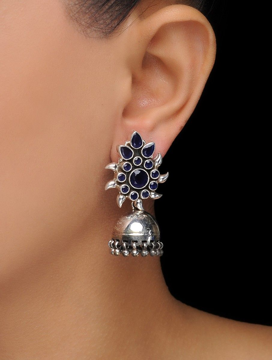 7bc1db380 Buy Blue Silver Jhumkis with Floral Design Semi precious Stones Jewelry  Earrings Online at Jaypore.com