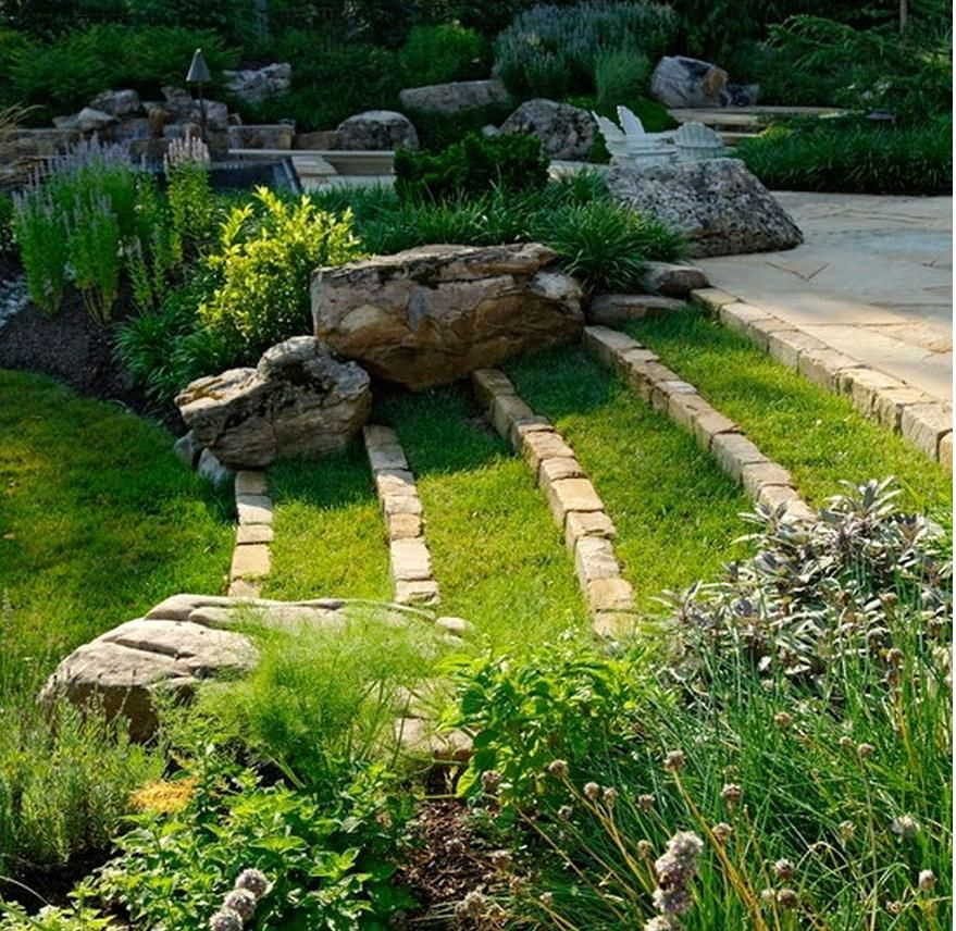 20 Sloped Backyard Design Ideas: Tiered Grass Landscaping