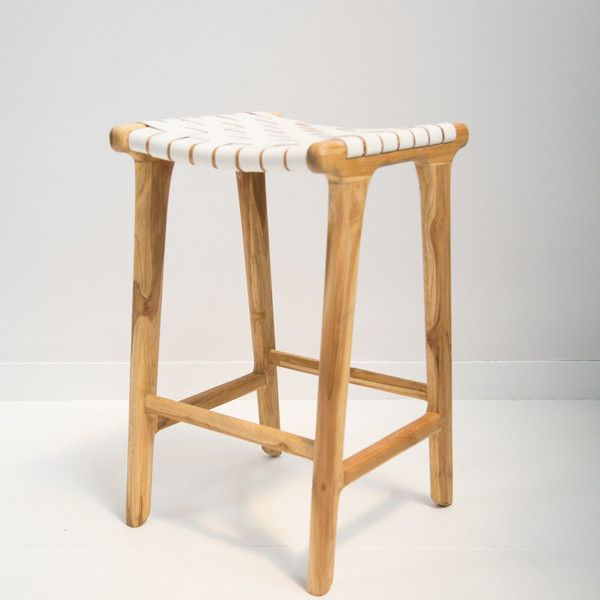 white leather weave bar stool island bench teak wood and stools