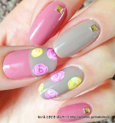 #nail #nails #nailart Love the pink and yellow on the gray