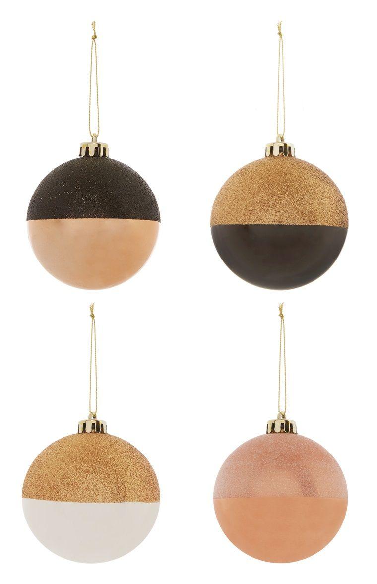 Primark Weihnachtsdeko.Primark 4pk Dipped Glitter Baubles Christmas Glass Ornaments