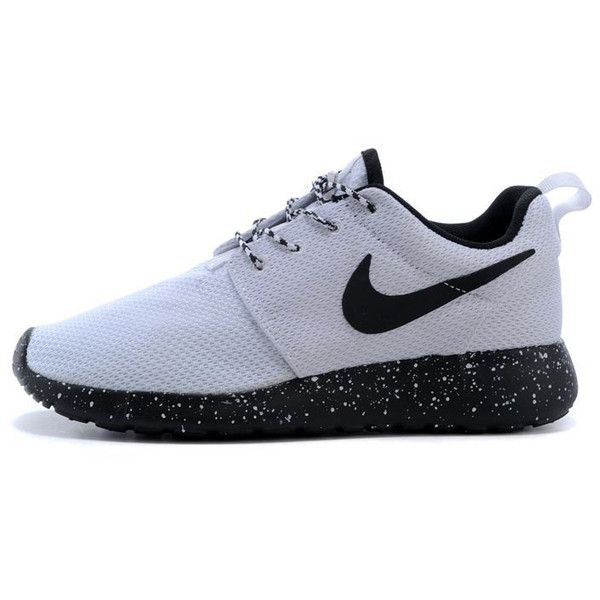 Custom Nike Roshe Run Sneakers Athletic Sport Womens Black Sole White...  ($91